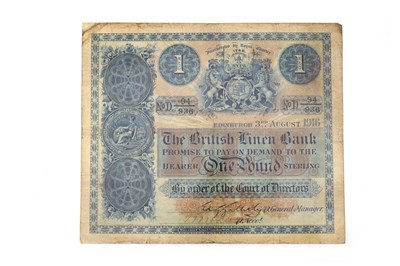 Lot 637-A THE BRITISH LINEN BANK £1 NOTE 1916