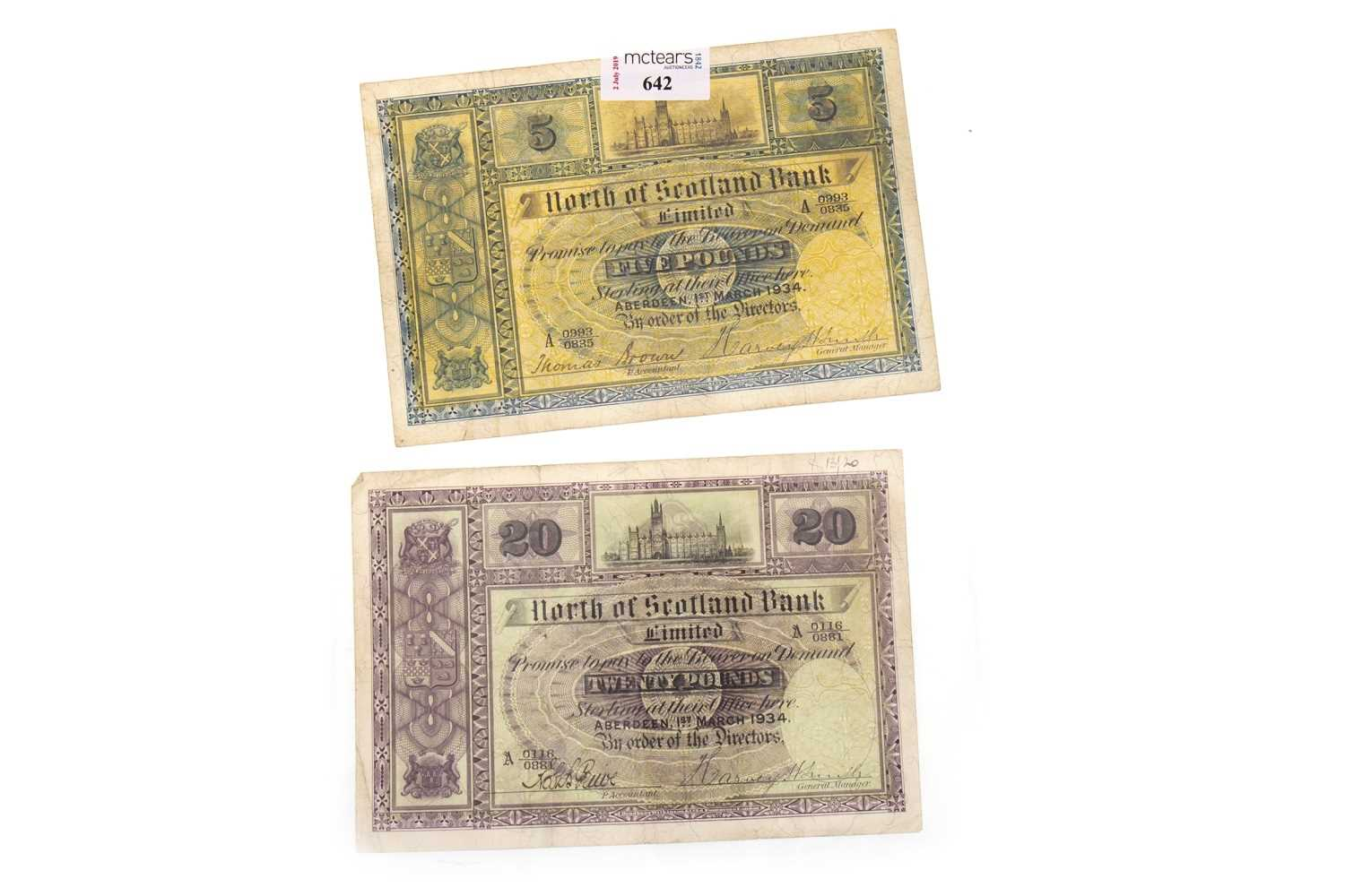 Lot 642 - TWO NORTH OF SCOTLAND BANK NOTES