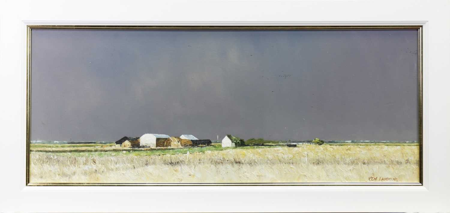 Lot 536-GREY SKIES, AN OIL BY KEN LAMMING