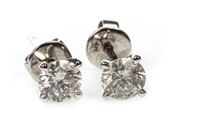 Lot 10A-A PAIR OF CERTIFICATED DIAMOND SINGLE STONE EARRINGS