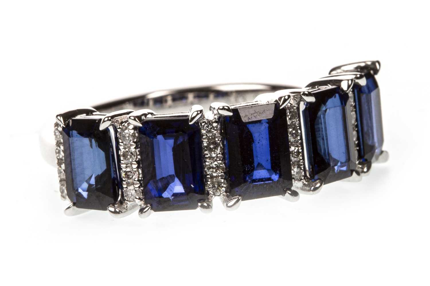 Lot 20-A CERTIFICATED SAPPHIRE AND DIAMOND BAND