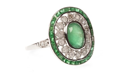 Lot 50A-AN EMERALD AND DIAMOND RING