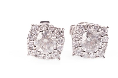Lot 60A-A PAIR OF DIAMOND CLUSTER EARRINGS