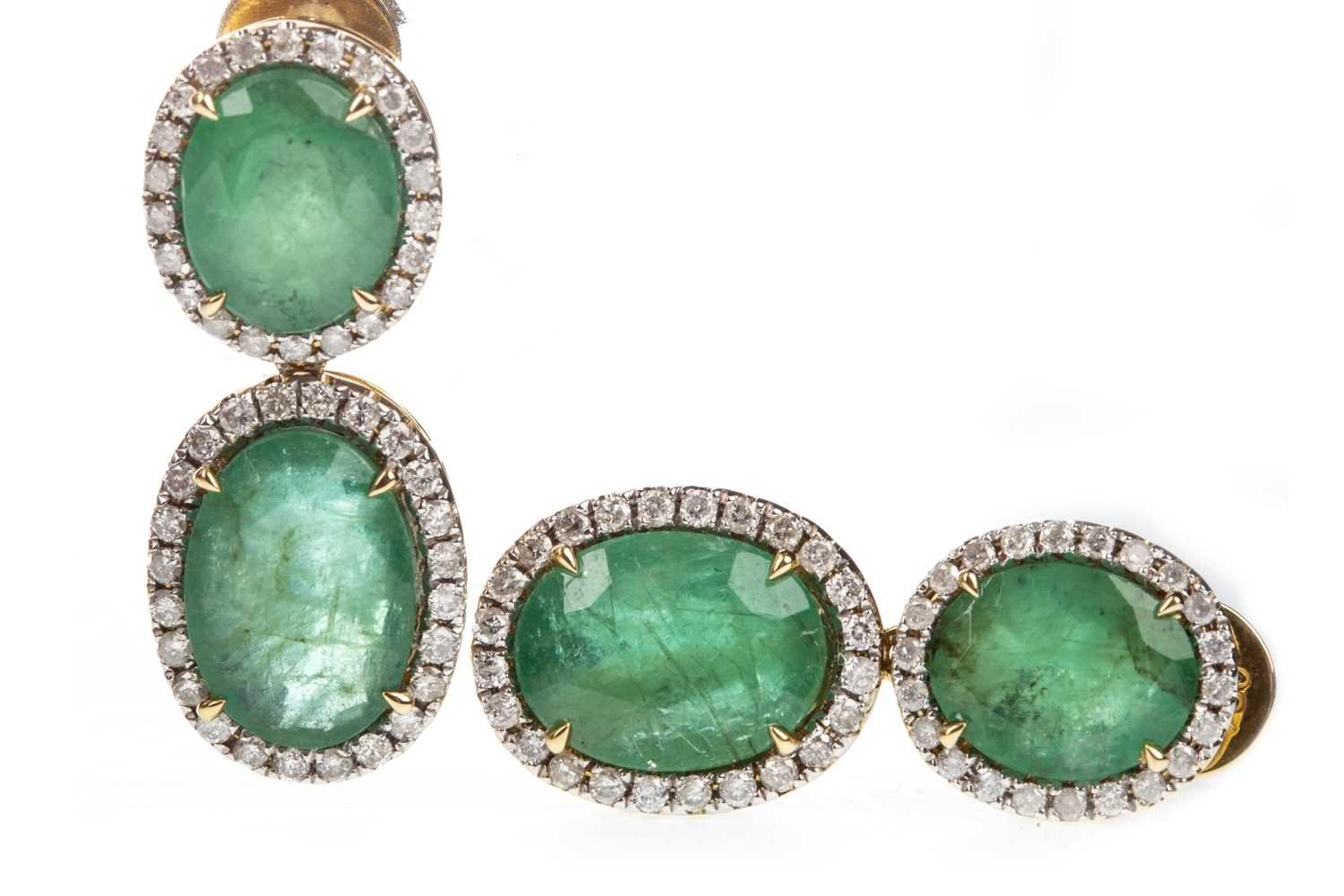 Lot 19-A PAIR OF CERTIFICATED EMERALD AND DIAMOND EARRINGS