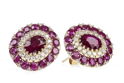 Lot 34-A PAIR OF CERTIFICATED RUBY AND DIAMOND CLUSTER EARRINGS