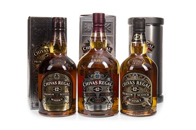 Lot 425-ONE LITRE AND TWO BOTTLES OF CHIVAS REGAL 12 YEARS OLD