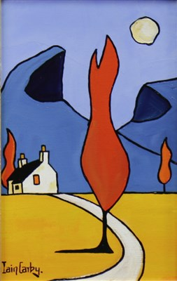 Lot 651-RED TREE AND A CROFT BY SUILVEN, AN OIL BY IAIN CARBY