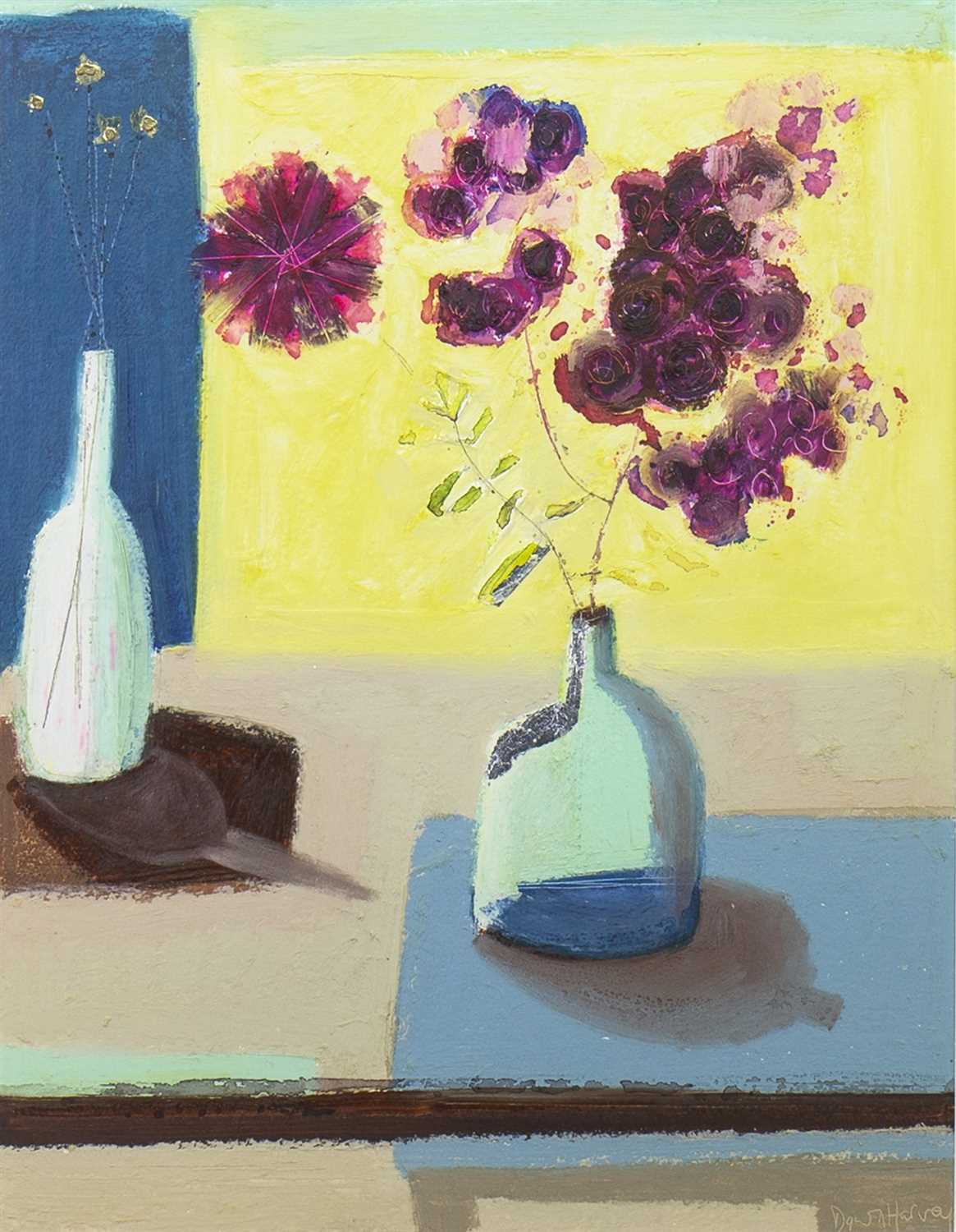 Lot 535-FLORAL STILL LIFE, A MIXED MEDIA BY DAWN HARVEY