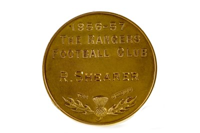 Lot 1932-BOBBY SHEARER 'CAPTAIN CUTLASS' OF RANGERS F.C. - HIS FIRST DIVISION WINNERS GOLD MEDAL 1957