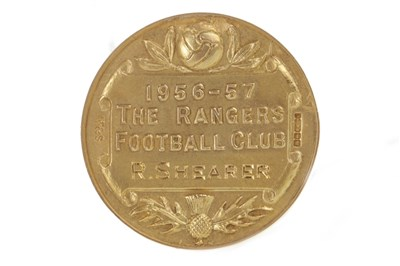 Lot 1934-BOBBY SHEARER 'CAPTAIN CUTLASS' OF RANGERS F.C. - HIS GLASGOW CHARITY CUP WINNERS GOLD MEDAL 1957