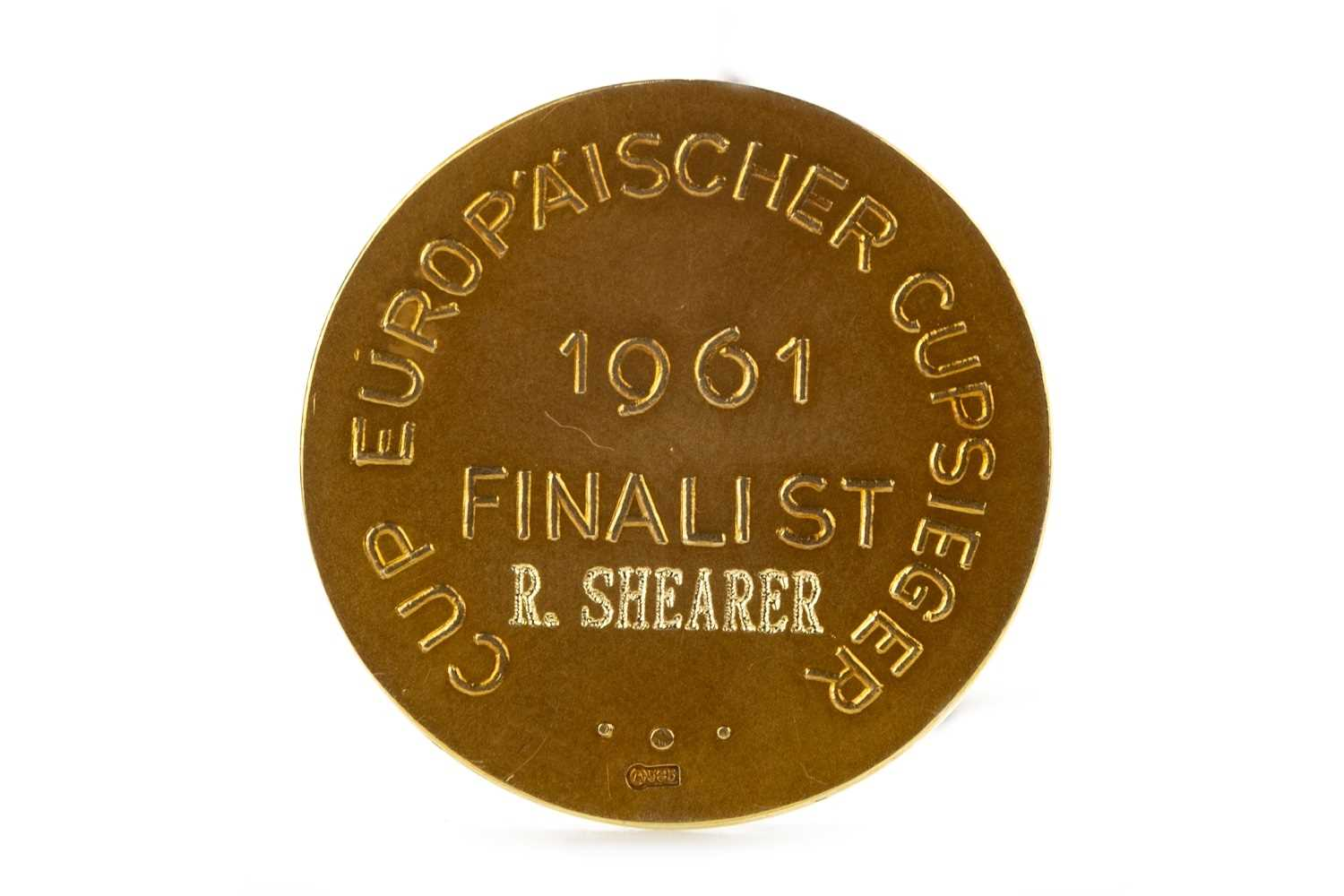 Lot 1942-BOBBY SHEARER 'CAPTAIN CUTLASS' OF RANGERS F.C. - HIS EUROPEAN CUP WINNERS' CUP FINALIST MEDAL 1961