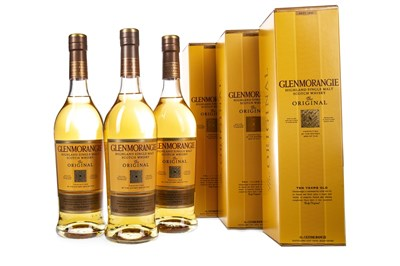 Lot 307-THREE BOTTLES OF GLENMORANGIE 10 YEARS OLD