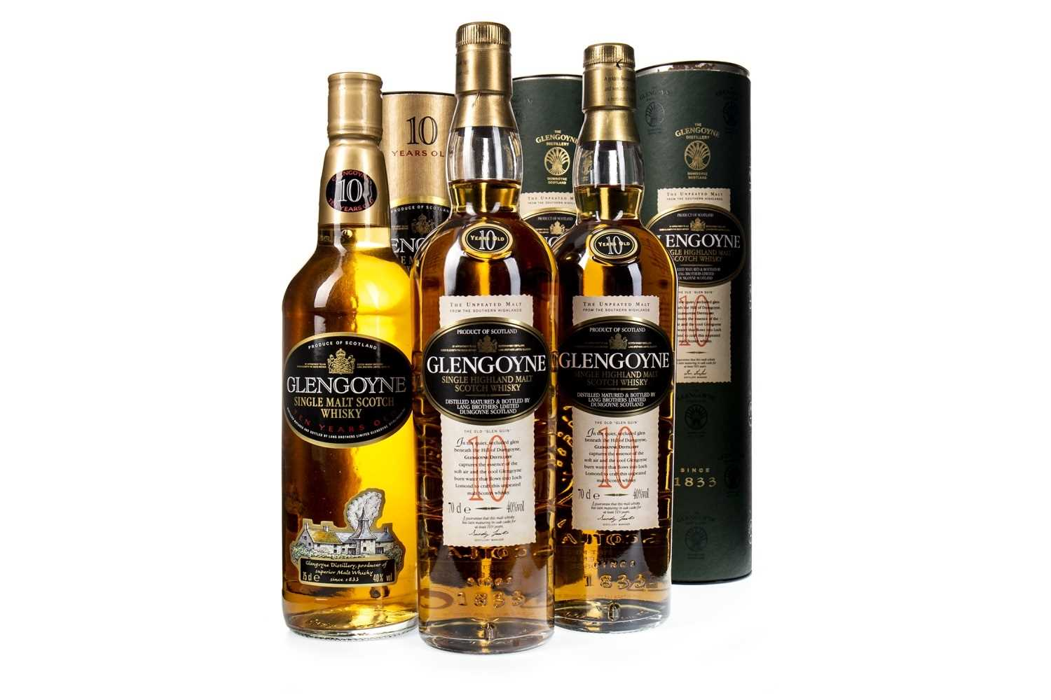 Lot 309-THREE BOTTLES OF GLENGOYNE 10 YEARS OLD