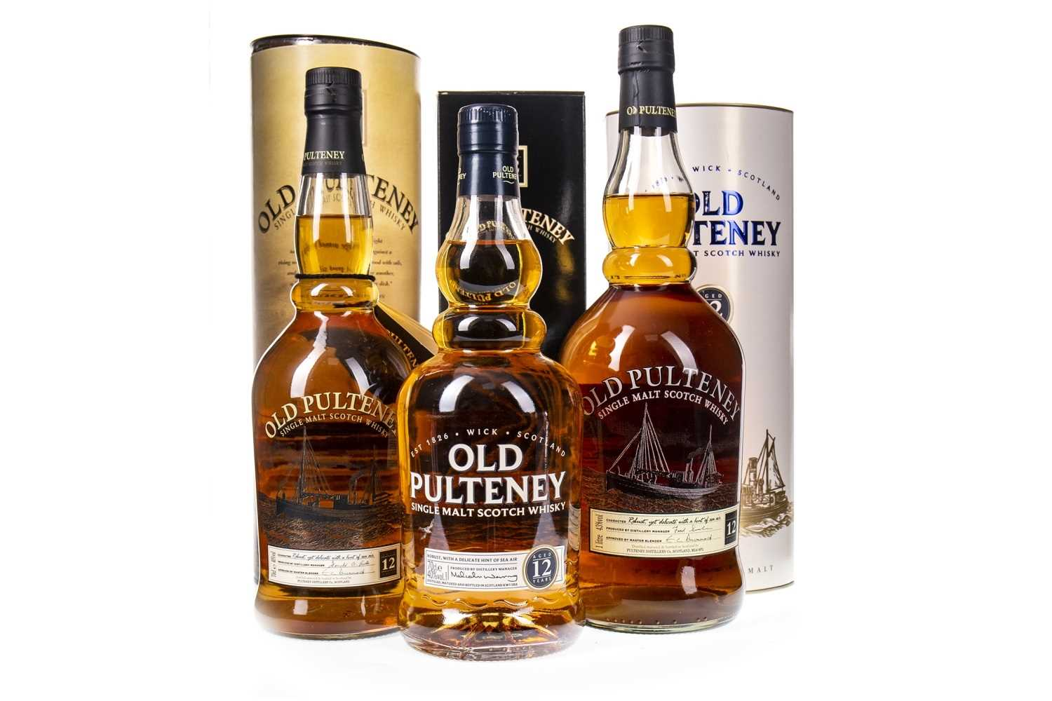 Lot 310-ONE LITRE AND TWO BOTTLES OF OLD PULTENEY AGED 12 YEARS