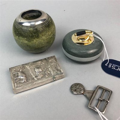 Lot 48-A LOT OF TWO VESTAS, A CURLING STONE DESK WEIGHT AND A BUCKLE