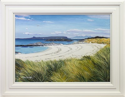 Lot 606-SMALL ISLES FROM CAMUSDARACH, AN OIL BY FRANK COLCLOUGH