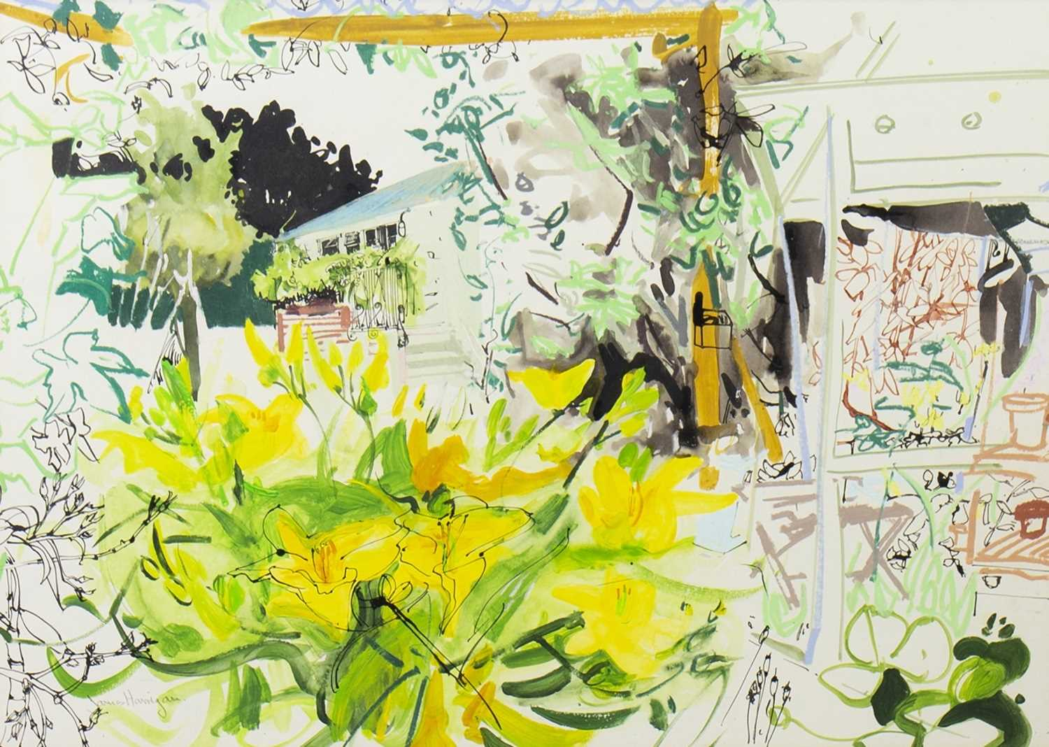 Lot 542-THE POTTING SHED, A MIXED MEDIA BY JAMES HARRIGAN