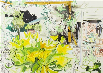 Lot 641-THE POTTING SHED, A MIXED MEDIA BY JAMES HARRIGAN
