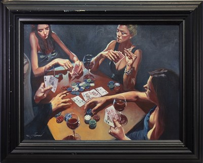 Lot 550-LIPGLOSS FOR GIRLS, A HAND EMBELLISHED CANVAS BY GABE LEONARD