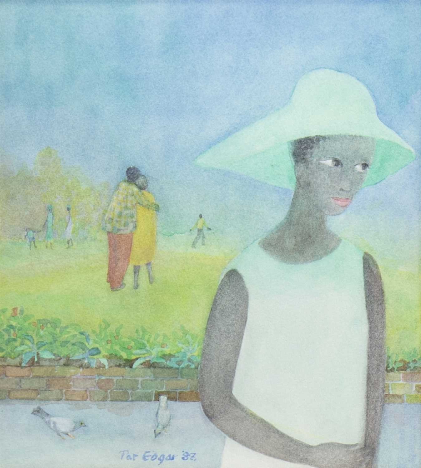 Lot 553-THE GREEN HAT, A WATERCOLOUR BY PAT EDGAR