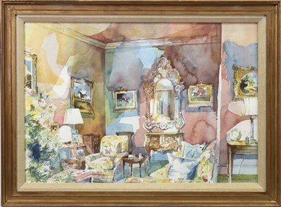 Lot 559-UNIDENTIFIED INTERIOR,  A WATERCOLOUR BY HUGH BUCHANAN