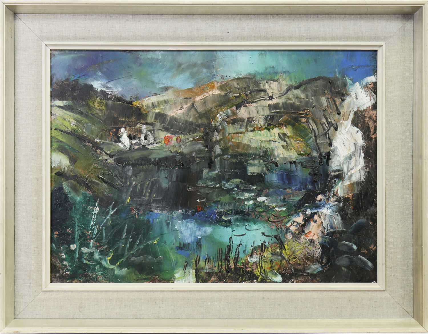 Lot 517-HIGHLANDS LANDSCAPE WITH LOCH AND COTTAGE, AN OIL BY HAMISH LAWRIE