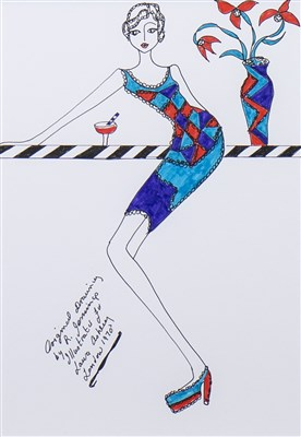 Lot 528-ORIGINAL ILLUSTRATION OF DESIGNS FOR LAURA ASHLEY, BY ROZ JENNINGS