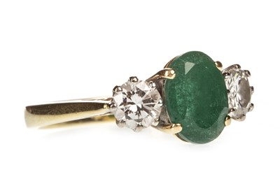 Lot 43-A GREEN GEM AND DIAMOND RING