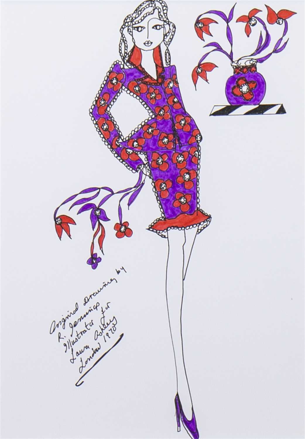 Lot 515-ORIGINAL ILLUSTRATION OF DESIGNS FOR LAURA ASHLEY, A PEN ON CARD BY ROZ JENNINGS