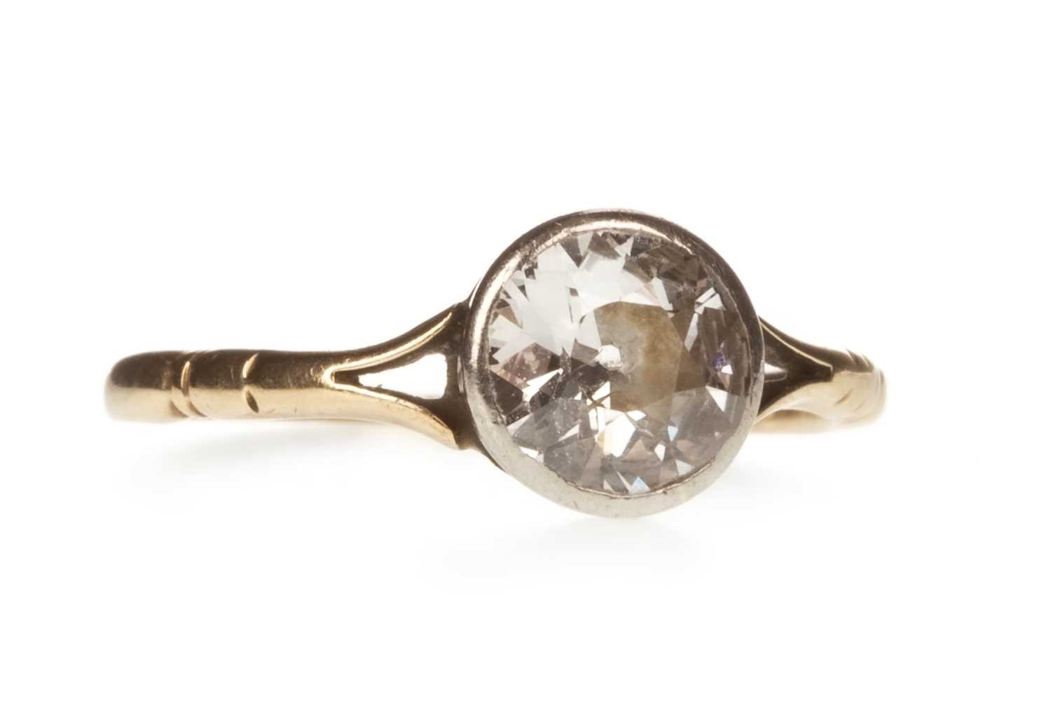 Lot 2-AN OLD CUT DIAMOND SOLITAIRE RING