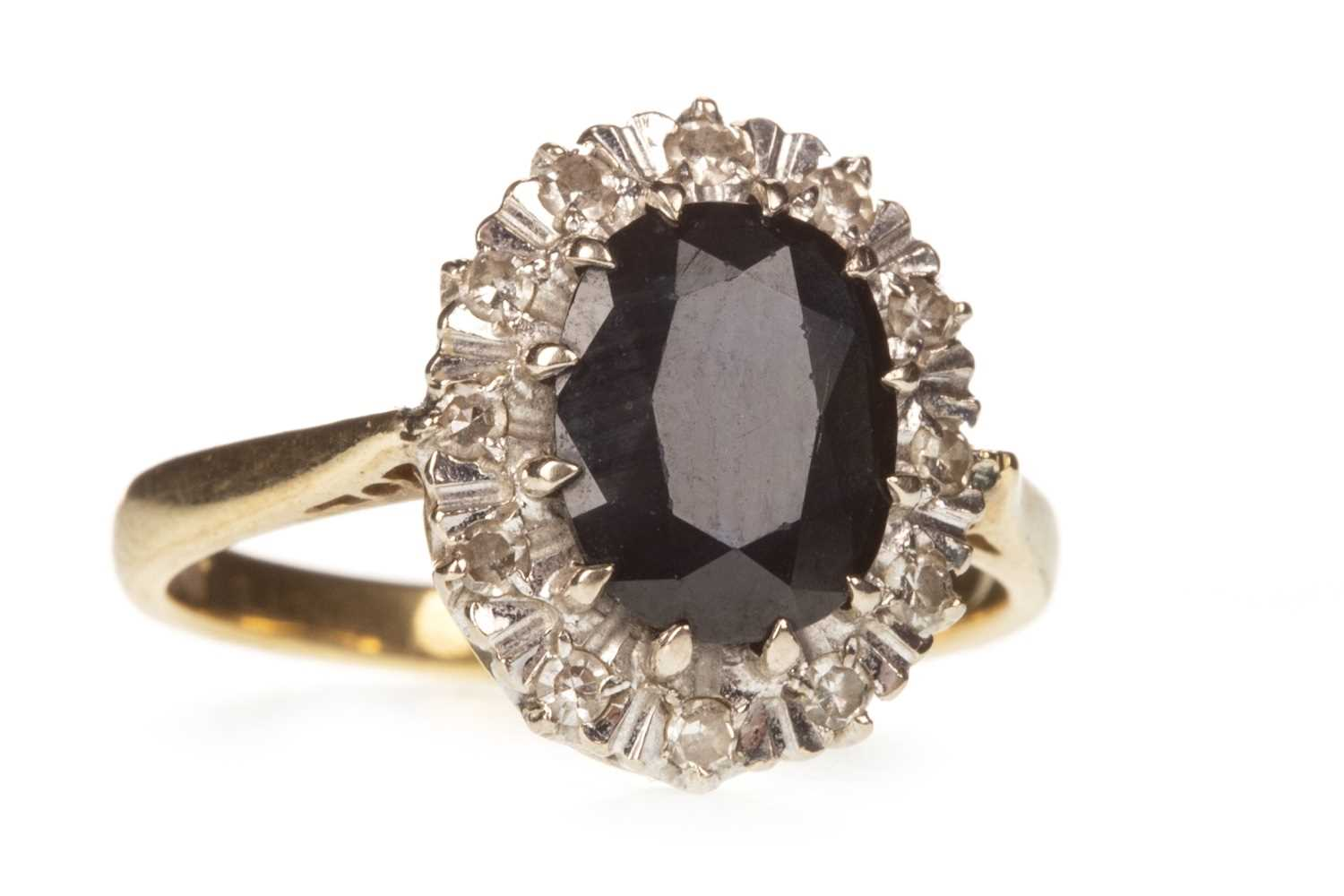 Lot 10-A BLUE GEM AND DIAMOND RING