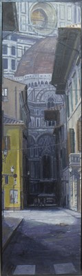 Lot 658-FLORENCE FROM VIA DEL SERVI, AN OIL BY NICK LAW