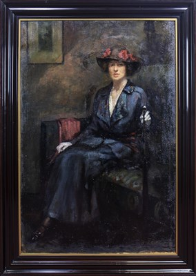 Lot 417-PORTRAIT OF BARBARA MILLER WYLLIE, AN OIL BY ROBERT EADIE