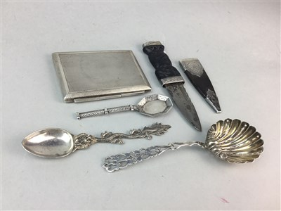 Lot 21-A SILVER MOUNTED SGIAN-DHU BY YOUNG & TATTON, SILVER COMPACT AND THREE SILVER SPOONS