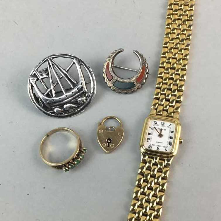 Lot 27-A SILVER BROOCH, A CRESCENT MOON BROOCH, GEM SET RING AND OTHER COSTUME JEWELLERY
