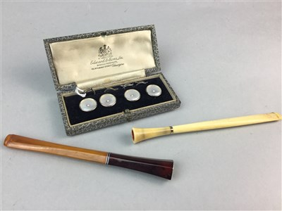 Lot 25-A SET OF FOUR DRESS STUDS, TWO CIGARETTE HOLDERS , LEATHER CIGAR AND CIGARETTE CASE