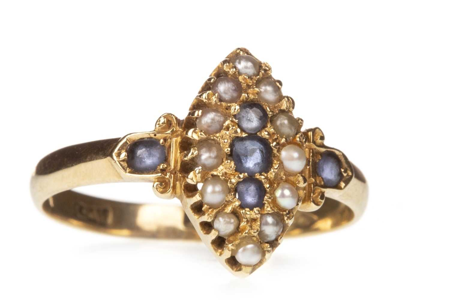 Lot 11-A VICTORIAN BLUE GEM AND PEARL RING