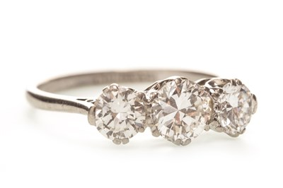 Lot 8-A DIAMOND THREE STONE RING