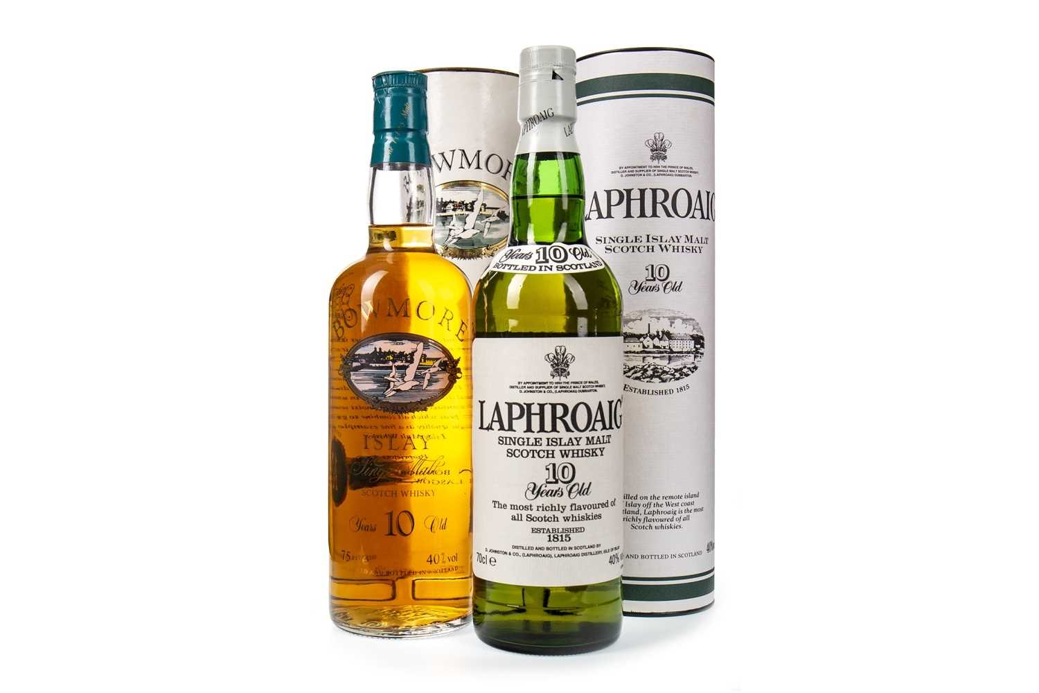 Lot 314-BOWMORE 10 YEARS OLD AND LAPHROAIG 10 YEARS OLD