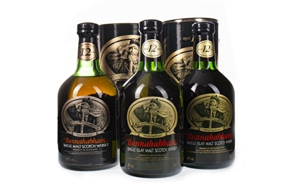Lot 320-THREE BOTTLES OF BUNNAHABHAIN AGED 12 YEARS