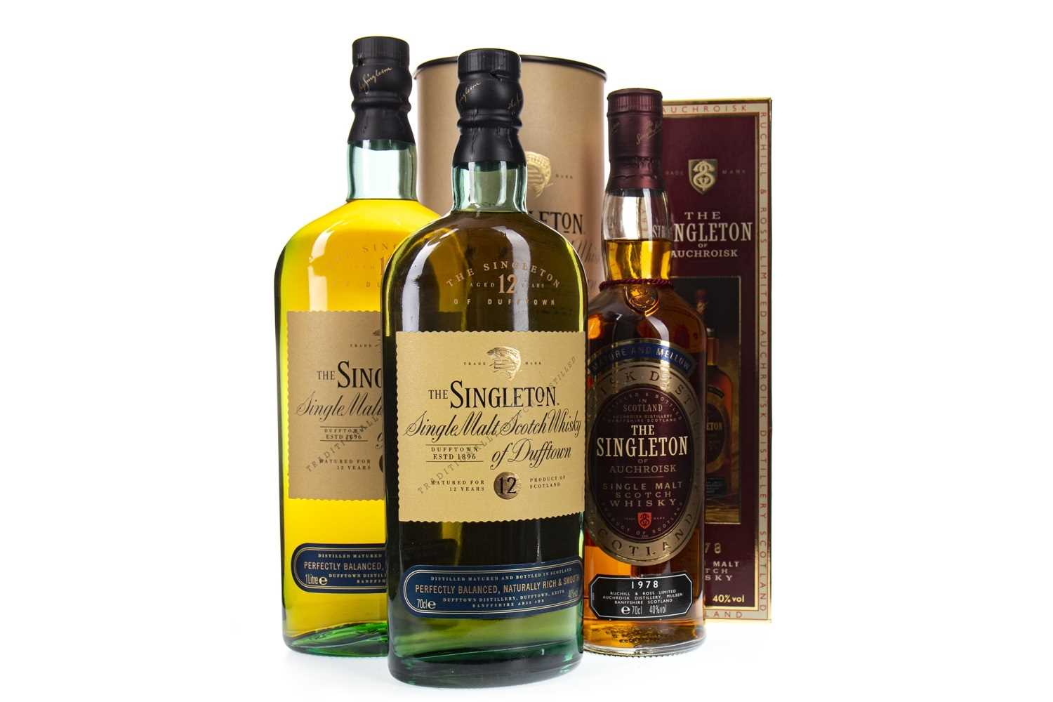 Lot 321-ONE BOTTLE AND LITRE OF SINGLETON OF DUFFTOWN 12 YEARS OLD, AND SINGLETON OF AUCHROISK 1978