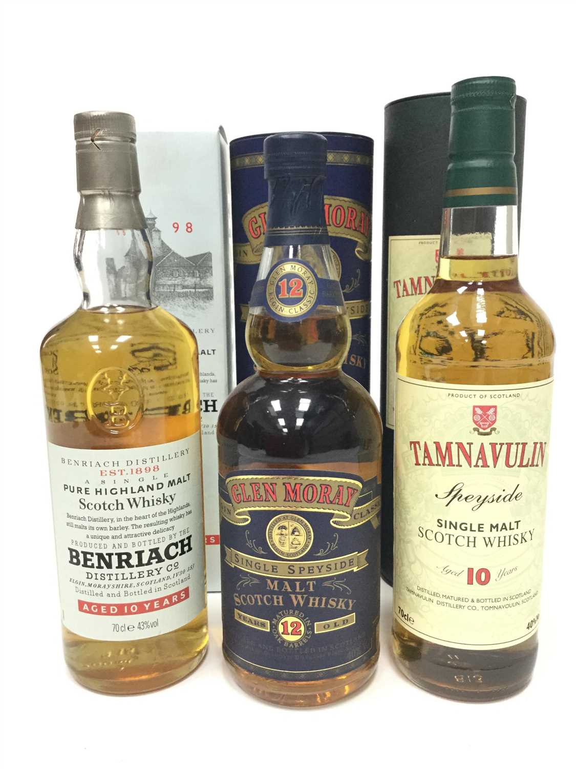 Lot 323-BENRIACH AGED 10 YEARS, GLEN MORAY AGED 12 YEARS AND TAMNAVULIN AGED 10 YEARS