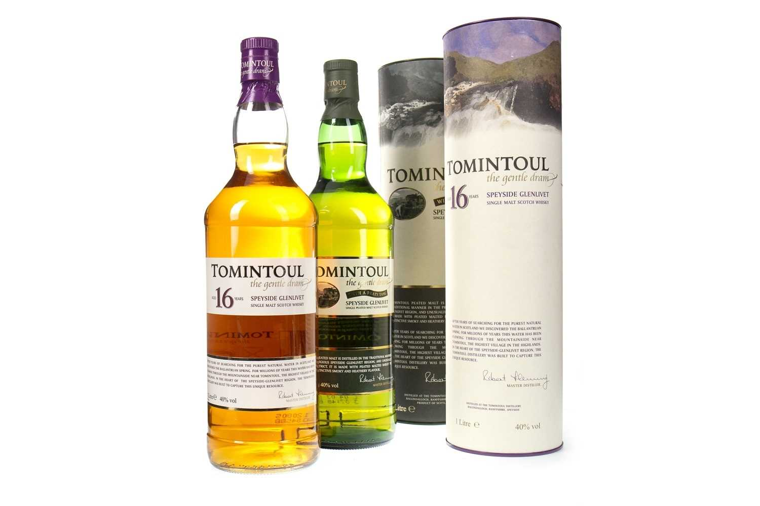 Lot 325-TOMINTOUL AGED 16 YEARS AND PEATY TANG