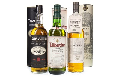 Lot 329-TOMATIN AGED 10 YEARS, TULLIBARDINE AGED 10 YEARS AND OBAN AGED 14 YEARS