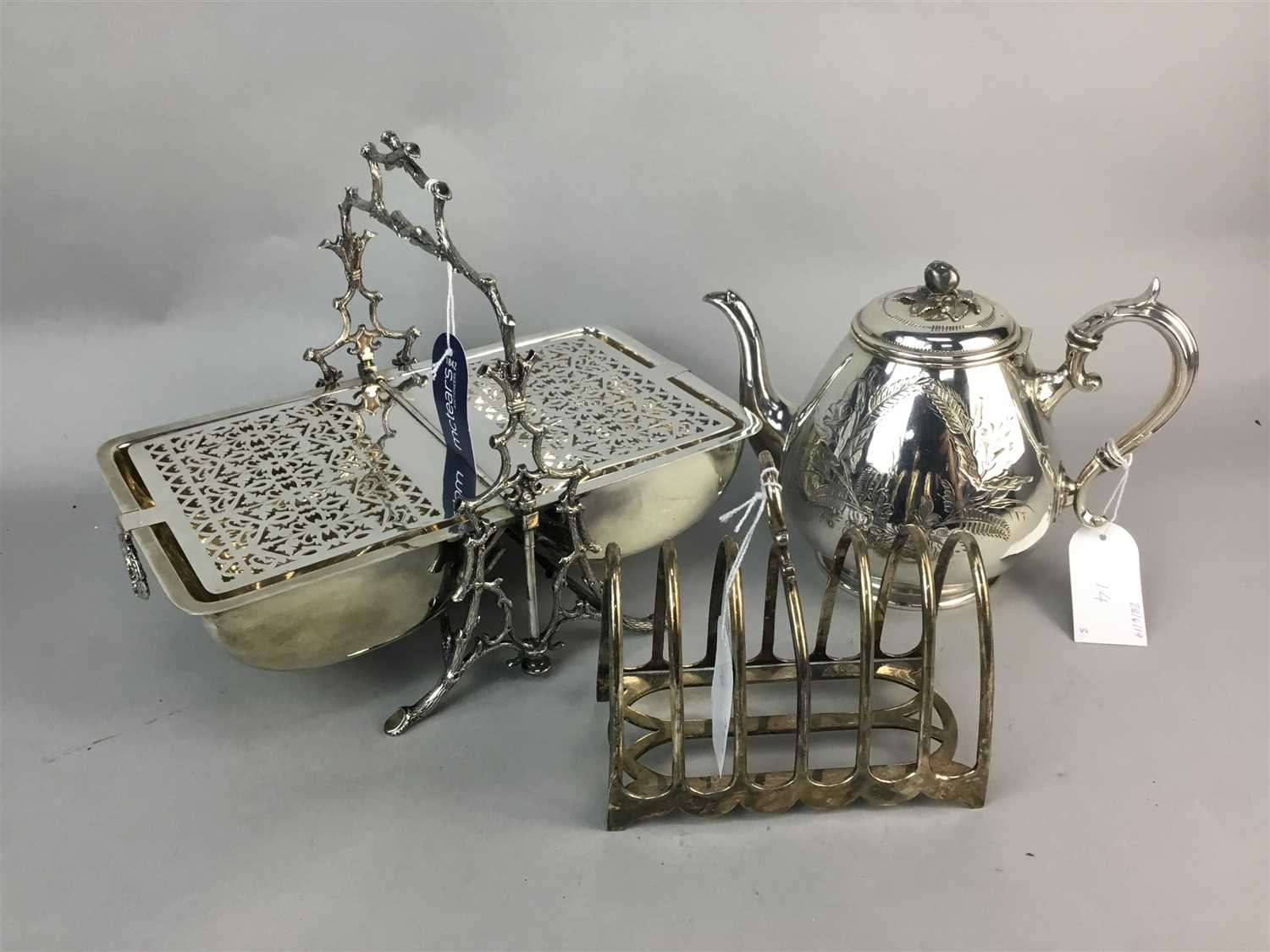 Lot 14-A SILVER PLATED, COFFEE POT, TOAST RACK AND BISCUIT BOX