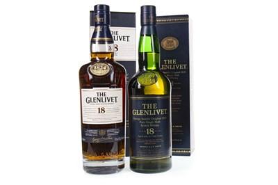 Lot 334-TWO BOTTLES OF GLENLIVET 18 YEARS OLD