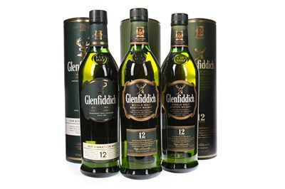 Lot 336-THREE BOTTLES OF GLENFIDDICH 12 YEARS OLD