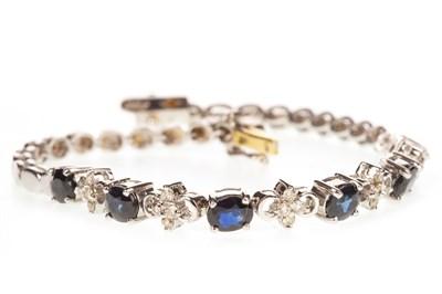 Lot 14-A BLUE GEM AND DIAMOND BRACELET