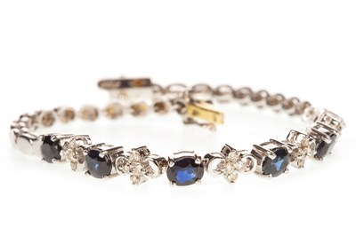 Lot 14-A BLUE GEM AND DIAMOND BRACELET