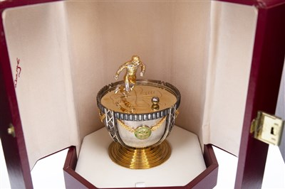 Lot 1915-THE JIMMY JOHNSTONE FABERGE EGG BY SARAH FABERGE